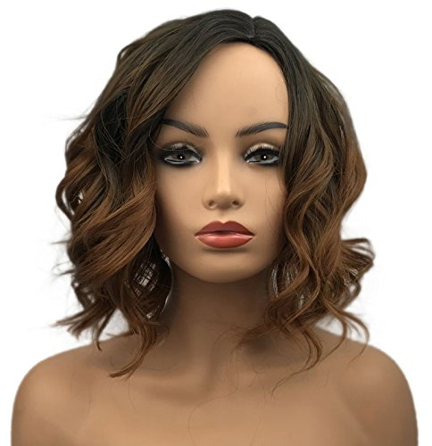 (Wiginway Short Curly Wavy Wig Brown Ombre Bob Full Synthetic Wig for Women Medium 12 Inch)