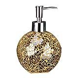 Soap Dispenser GCDW Hand Soap Bottle | Round Glass Material | for Shower Gel Shampoo | 460ml | White, Gold, Blue