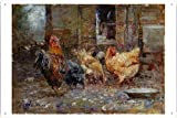 chicken artwork - Artwork Oil Paint of Frederick McCubbin - Chickens, 1901 on Tin Sign by Masterpiece Collection (20*30cm)