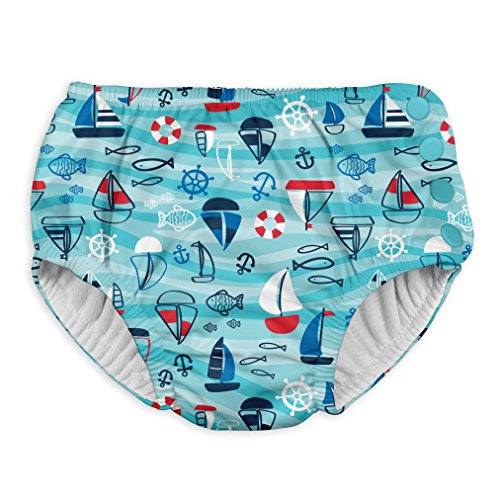 i play. Snap Reusable Absorbent Swimsuit Diaper,Aqua Wavy Boats,4T by i play.