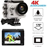 "KOCASO 4K WIFI Sports Action Camera Ultra HD Waterproof DV Camera, 2"" LCD Display, Supports Slow Motion/Time Lapse/Loop/Driving Record. Built-In Wi-Fi/HDMI, FREE Waterproof Underwater Case- Silver"
