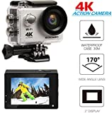 """KOCASO 4K WIFI Sports Action Camera Ultra HD Waterproof DV Camera, 2"""" LCD Display, Supports Slow Motion/Time Lapse/Loop/Driving Record. Built-In Wi-Fi/HDMI, FREE Waterproof Underwater Case- Silver"""