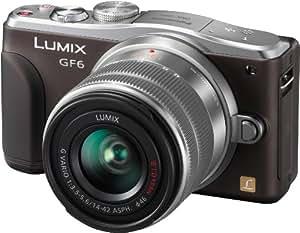 """Panasonic DMC-GF6KEG-T LUMIX - Cámara de sistema compacto (16 megapíxeles, pantalla LCD de 3"""" (7,6 cm), Full HD incluye objetivo Lumix Vario H-FS1442AE-S), color marrón (importado)"""