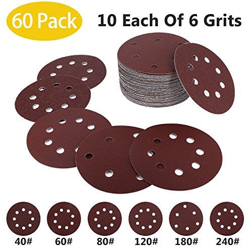 - 5in Sanding Discs, 60 Pack 8 Holes 5in Hook Loop Design Sandpaper Assorted 40/60/80/120/180/240 Grits
