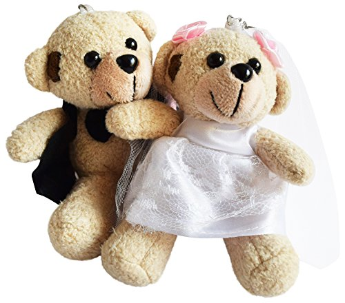 WEDDING FAVORS - FLOWER GIRL GIFTS - WEDDING GIFTS BRIDE AND GROOM TEDDY BEARS by (Groom Glass Bears)