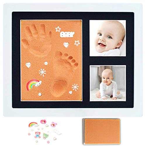 Baby Hand & Footprint Picture Frame - Babyprints Foam Mold Kit, Safer Faster Cleaner in Keepsake Box. Bonus Decorative Figures. Nursery Room. Shower Registry Birthday Newborn Girls Boys Kids