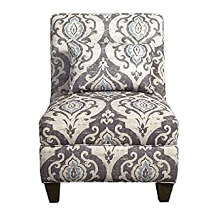 Modern, Ikat Blue Slate Large Accent Chair Features Grey Floral Design Great Addition for Bedroom, Living Room, Family Room, and Home Office