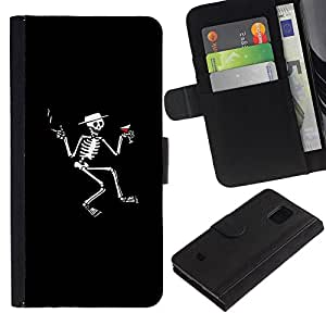 LECELL--Cuero de la tarjeta la carpeta del tirón Smartphone Slots Protección Holder For Samsung Galaxy S5 Mini, SM-G800 -- Cráneo Cóctel --
