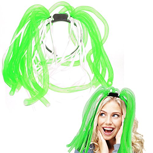 Light Up Hair - Toy Cubby LED Party Rave Disco Flashing Noodle Wig - Light Glowing Fresh Green Dreads. Ideal For Halloween, Dress Up Parties, Masquerades...And So Much More! Be Refined!]()