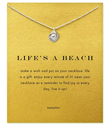 Hundred River Friendship Shell and Pearl Necklace with Message Card Gift Card (Shell) - Jewelry Fashion Shell Necklace