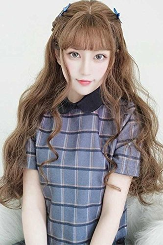 Generic South Korean women girls lady long hair wig Liu Hai big wave of air volume natural-looking wig corn hot fluffy fluffy