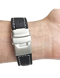 24mm Black Genuine Leather Watch Strap Band with Deployment Clasp Buckle and White Stitching, Many Colors