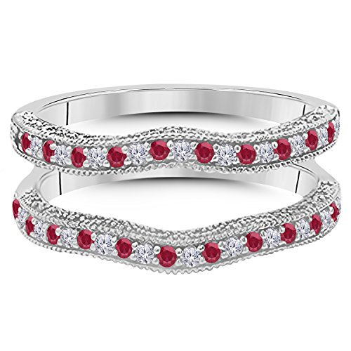 14K Gold Plated(White,Yellow,Rose,Black)Alloy 0.50ct Created Red Ruby & Created Simulated Diamonds Ring Solitaire Enhancer Guard Wrap Fashion Ring For Women's Free Size 4 to 11