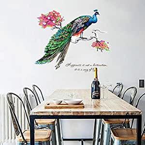 Fabal DIY Chinese Style Peacock TV Background Wall Decoration Removable Wall Stickers (Multicolor)