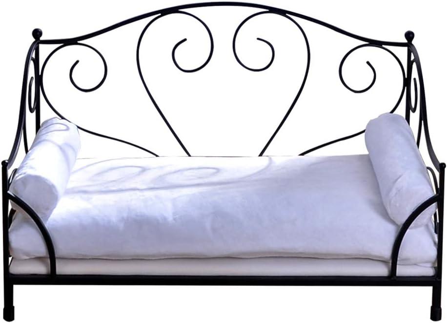 BabyLand Summer Metal Frame Pet Bed, Animal Lounge Detachable Bed with Velvet Mattress