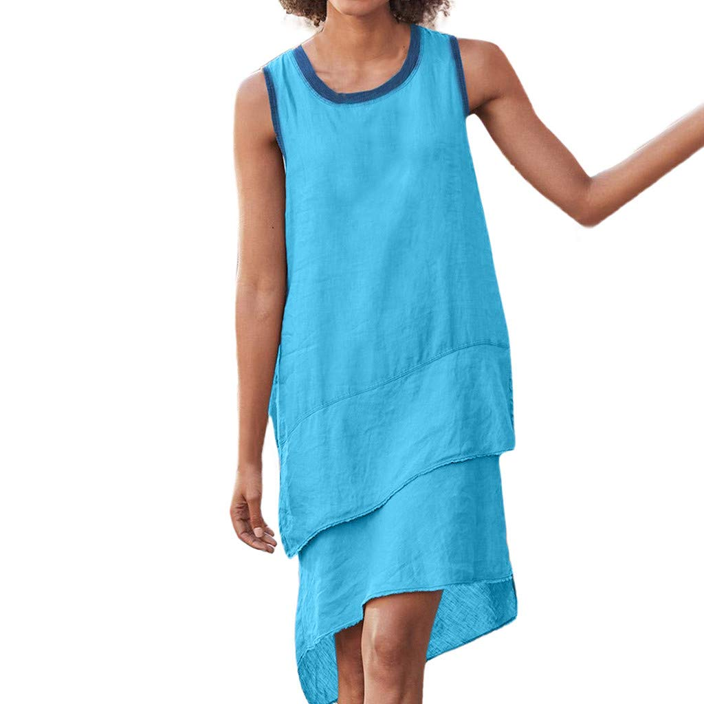 Tantisy ♣↭♣ Women's Sleeveless Round Neck Loose Dress Hem Layering Linen Casual Flowy Swing Dress Blue by Tantisy ♣↭♣ Fashion Women's