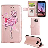 Samsung Galaxy S6 Edge Case, Ailisi [Pink Flamingo] Leather Wallet Flip Phone Case Magnetic Cover with TPU Inner, Shock-Absorption Protective Case with Card Slots, Stand Function (Rose Gold)