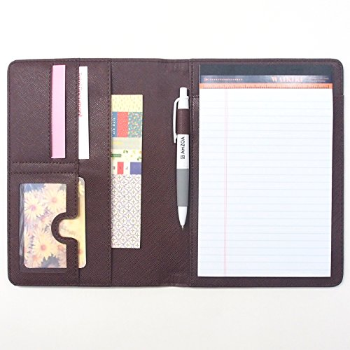 AHZOA 4 Pockets A5 Memo Padfolio S2, Synthetic Leather Handmade 6.3 X 8.66 Inch Folder Clipboard Writing Pad (brown)