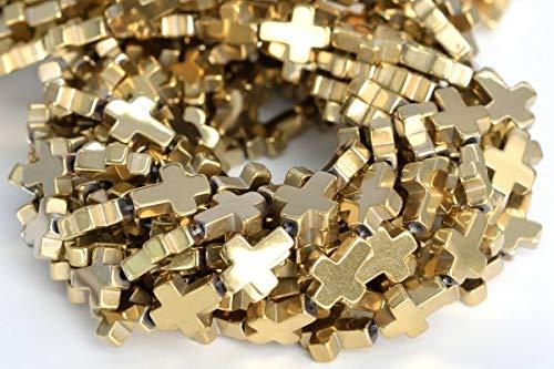 10x8MM Champagne Gold Hematite Cross Grade AAA Natural Gemstone Loose Beads 7.5