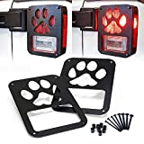 Xprite 2007 - 2016 Jeep Wrangler JK Unlimited Black Light Guard Dog Paw For Rear Taillights ( Tail Light ) Cover - Pair by Xprite