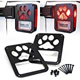"""Xprite 2007-2018 Jeep Wrangler JK Unlimited Black Light Guard"""" Dog Paw"""" For Rear Taillights ( Tail Light ) Cover - Pair"""