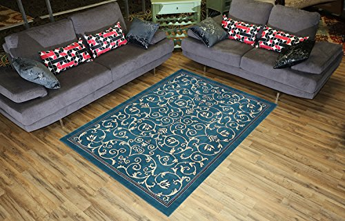 Conur Collection Floral Scroll Area Rug Rugs Modern Contemporary Traditional Area Rug Rugs Veronica 3 Color Options (Petrol Blue, 4'11