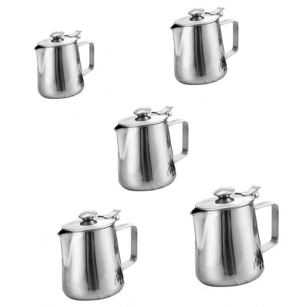 MagiDeal 5 Sizes Stainless Steel Coffee Pitcher Craft Milk Frothing Jug With Lid