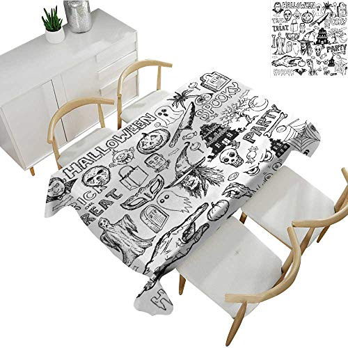 Warm Family Vintage Halloween Square Polyester Tablecloth Hand Drawn Halloween Doodle Trick or Treat Party Severed Hand Design 70