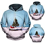 FANOUD Hoodie 3D Christmas Crystal Ball Print Hooded Sweater Christmas Ball Decoration Hoodie