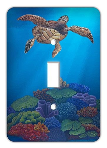 Tropical Fish Single Switch Plate Cover, Sea Turtle 2