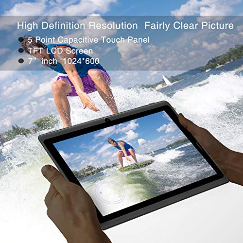 7 inch Tablet Google Android 8.0 Quad Core 1024x600 Dual Camera Wi-Fi Bluetooth 1GB/8GB Play Store Netflix Skype Supported GMS Certified (Black)