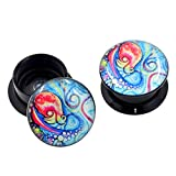 Longbeauty Pair Acrylic Ear Gauges Plugs Flesh Tunnels Expanders Screw Painted Octopus Stretchers Piercing Jewelry 16MM