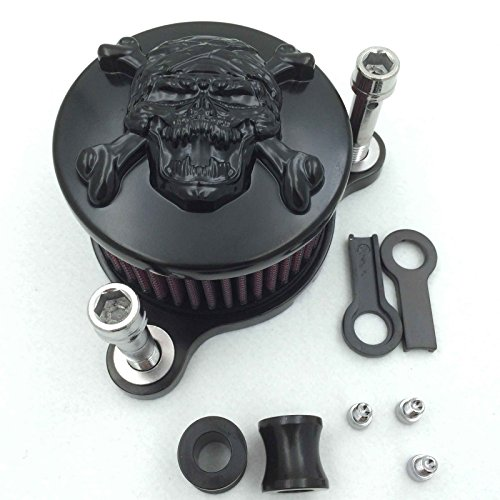 (XKMT-Black Skull with Cross Bone Air Cleaner Intake Filter System Kit Compatible With Harley Sportster XL883 XL1200 1988-1999 2010 2011 2012 2013 2014 2015 [B0195U7EIG] )