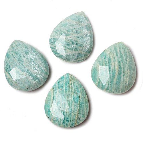 - 25x20mm Dark Amazonite Faceted Pear Focal Pendant Bead 1 piece