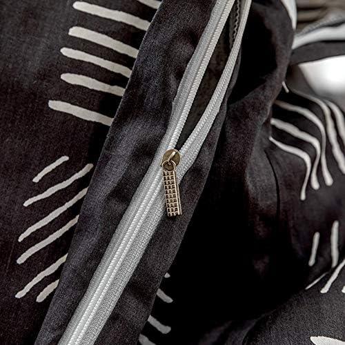 Ligne Droite Rayée Ensemble de literie 2/3 pièces Géométrique 100% Coton Housse de couette et Taie d'oreiller,3PCSKing(240cm*220cm)