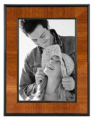 Malden International Designs Burl Wood Walnut Wooden Picture Frame with Black Border