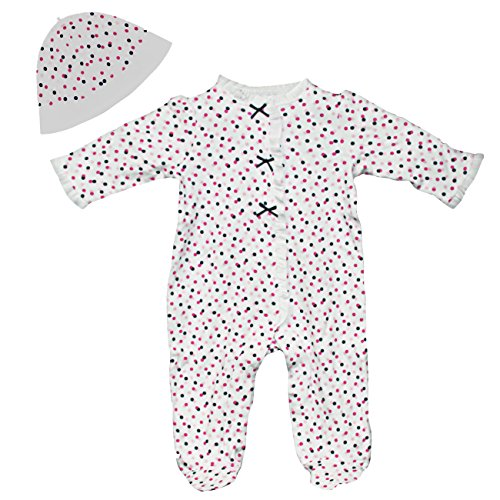 Little Me Baby Girls Polka Dot Footie Pajamas Footed Sleeper and Hat 9 Month