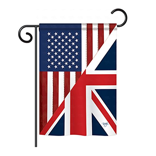 Breeze Decor - US UK Friendship Flags of The World - Everyday Impressions Decorative Vertical Garden Flag 13 x 18.5 Printed in USA