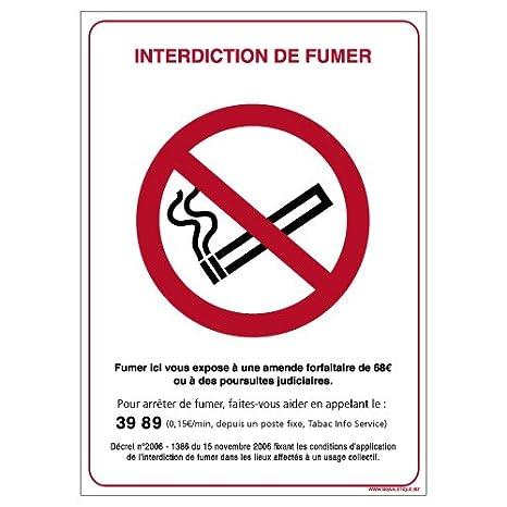 Interdiction de Fumer - Panneau Plaque Pancarte - Plastique rigide PVC 1, 5 mm - Dimensions 150 x 210 mm - Double face au dos - Garantie 10 ans - Panneau dé fense de fumer Signaletique.biz