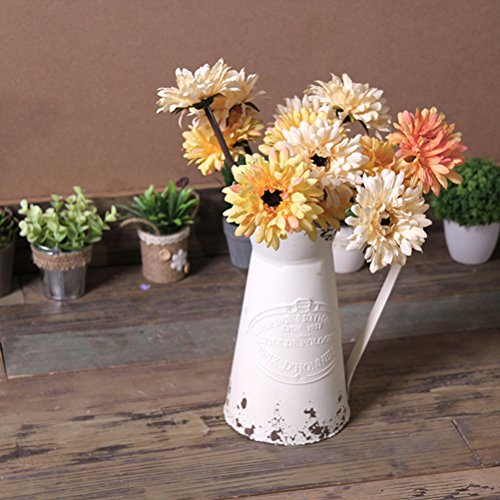 APSOONSELL French Style Country Rustic Metal Jug Flower Pitcher Vase for Farmhouse Decor Cream -