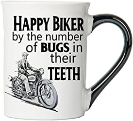 Happy Biker By The Number of Bugs in Thier Teeth Mug, Harley Coffee Cup, Harley Cup, Harley Gifts By Tumbleweed