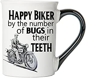 Happy Biker By The Number of Bugs in Thier Teeth Mug, Harley Coffee Cup, Harley Cup, Harley Gifts By Tumbleweed