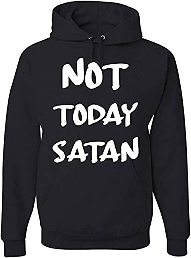 Womens Long Sleeve Hooded Not Today Satan Not Today Loose Casual Pullover Hoodie Dress Tunic Sweatshirt Dress with Pockets