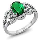 Gem Stone King Sterling Silver Green Simulated Emerald Women's Ring 2.12 cttw (Size 9)