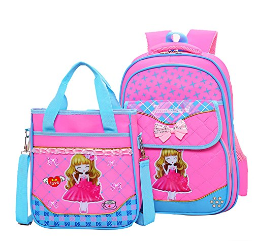 Lace Fanci - Fanci 2Pcs Bowknot Princess Style Primary School Bookbag Rucksack for Elementary Girls School Backpack Set with Lunch Bag