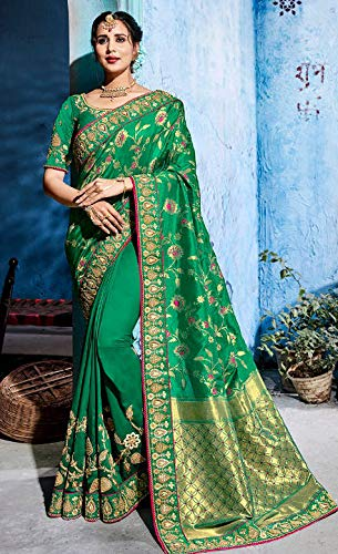Coloured Blouse Emporium Ethnic 7401 Sari Green Unstitched Wear Embroidered With Party Crepe qARERvw