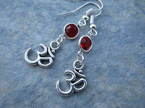 (Om Birthstone Earrings, Buddhist Hindu Earrings, Aum Symbol Jewelry, Personalized Yoga Gift )