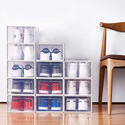 Stackable Storage Bins Shoe Container Organizer Foldable Clear Sneaker Display Box 4 Pack X-Large WAYTRIM Storage Shoe Box White