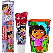 Dora the Explorer Inspired 3pc. Bright Smile Oral Hygiene Set! (1) Dora Battery Powered Turbo Spin Brush (1) Colgate Dora The Explorer Fluoride Toothpaste, 4.6 oz Plus Bonus Matching Mouth Wash Rinse Cup!