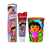 Dora the Explorer Inspired 3pc. Bright Smile Oral Hygiene Set! (1) Dora Battery Powered Turbo Spin Brush (1) Colgate Dora The Explorer Fluoride Toothpaste, 4.6 oz Plus Bonus Matching Mouth Wash Rinse Cup!